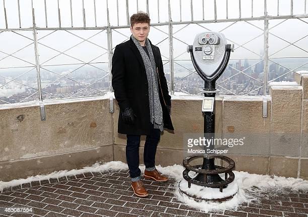 Actor Taron Egerton visits The Empire State Building on February 9 2015 in New York City