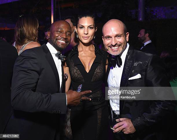 Actor Taye Diggs Amanza Smith Brown and Alessandro Maria Ferreri attend the 23rd Annual Elton John AIDS Foundation Academy Awards Viewing Party on...