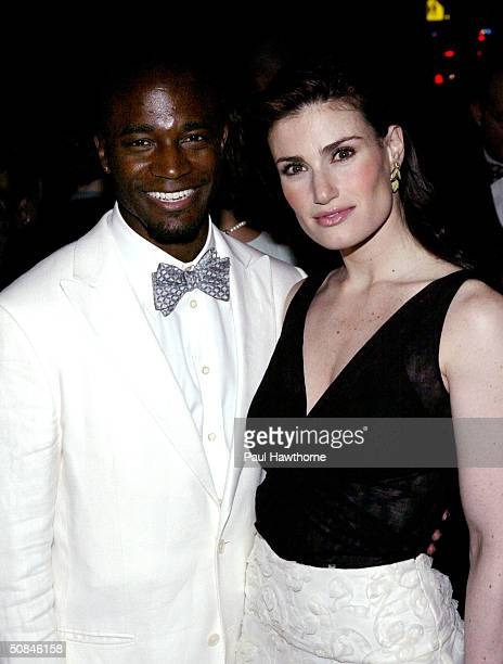 Actor Taye Diggs and actress Idina Menzel arrive at the 49th annual Drama Desk Awards at the La Guardia Concert Hall in Lincoln Center May 16 2004 in...