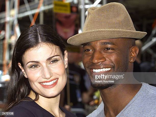 Actor Taye Diggs and Idina Menzel attend the 12th annual Broadway on Broadway free concert in Times Square September 7 2003 in New York City