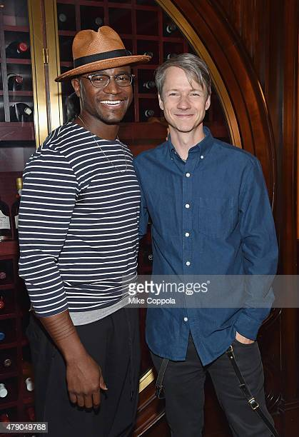 Actor Taye Diggs and John Cameron Mitchell pose for a picture at Broadway's Hedwig And The Angry Inch Cast Photocall at The Lambs Club on June 30...