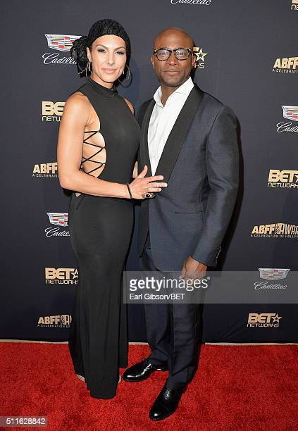 Actor Taye Diggs and model Amanza Smith Brown attend the 2016 ABFF Awards A Celebration Of Hollywood at The Beverly Hilton Hotel on February 21 2016...