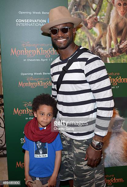 Actor Taye Diggs and son Walker Diggs attend the world premiere Of Disney's Monkey Kingdom at Pacific Theatres at The Grove on April 12 2015 in Los...