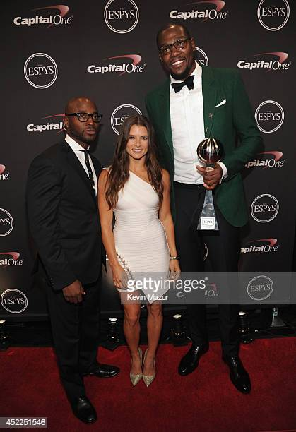 Actor Taye Diggs Driver Danica Patrick and NBA player Kevin Durant with award for Best Male Athlete at The 2014 ESPY Awards at Nokia Theatre LA Live...