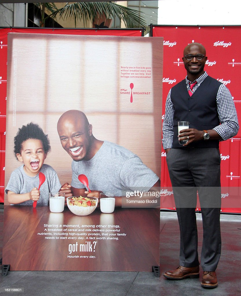 Actor Taye Diggs unveils first-ever milk mustache ad as part of the share breakfast program at Hollywood & Highland Courtyard on March 5, 2013 in Hollywood, California.