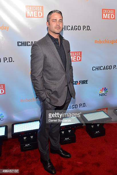 Actor Taylor Kinney attends a premiere party for NBC's 'Chicago Fire' 'Chicago PD' and 'Chicago Med' at STK Chicago on November 9 2015 in Chicago...