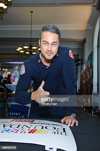 Actor Taylor Kinney attends a press junket for NBC's 'Chicago Fire' 'Chicago PD' and 'Chicago Med' at Cinespace Chicago Film Studios on November 9...