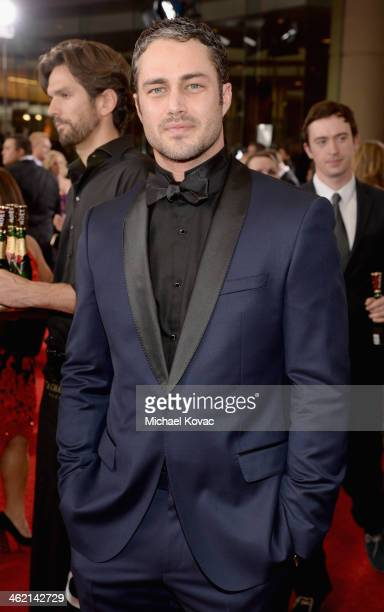 Actor Taylor Kinney attends the 71st Annual Golden Globe Awards with Moet Chandon held at the Beverly Hilton Hotel on January 12 2014 in Los Angeles...