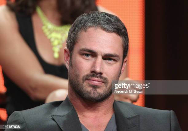Actor Taylor Kinney speaks onstage at the 'Chicago Fire' panel during day 4 of the NBCUniversal portion of the 2012 Summer TCA Tour held at the...