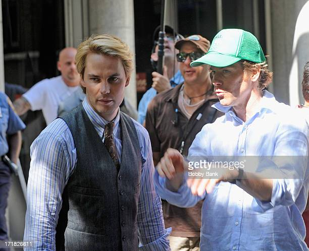 Actor Taylor Kitsch and Director of Photography Danny Moder on the set of The Normal Heart on June 28 2013 in New York City