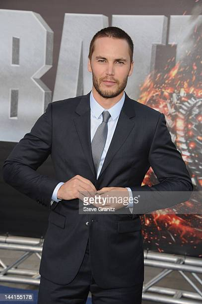Actor Taylor Kitsch arrives at the Los Angeles premiere of Battleship at Nokia Theatre LA Live on May 10 2012 in Los Angeles California