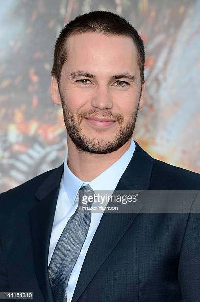 Actor Taylor Kitsch arrives at the premiere of Universal Pictures' Battleship at Nokia Theatre LA Live on May 10 2012 in Los Angeles California