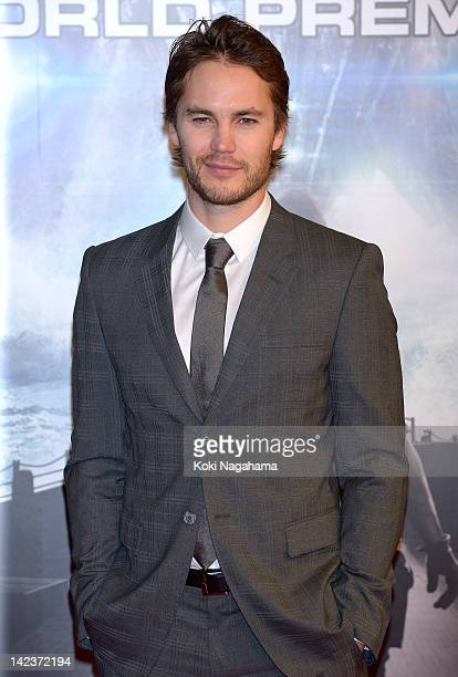 Actor Taylor Kitsch attends the 'Battleship' Japan Premiere at International Yoyogi first gymnasium on April 3 2012 in Tokyo Japan