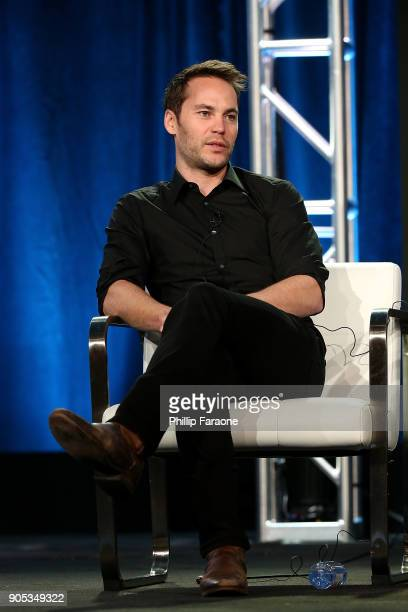 Actor Taylor Kitsch of 'Waco' speaks onstage during the Paramount Network portion of the 2018 Winter TCA on January 15 2018 in Pasadena California