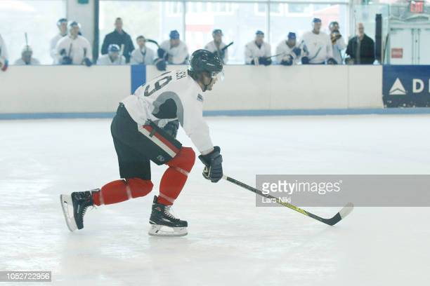 Actor Taylor Kitsch playing hockey during the MDC Productions 2018 Face Off to Fight Cancer charity hockey event to benefit Ronald McDonald House New...
