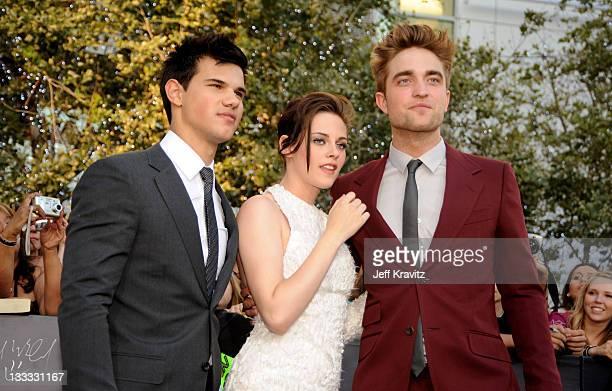 Actor Taylor Lautner actress Kristen Stewart and actor Robert Pattinson arrive at the premiere of Summit Entertainment's The Twilight Saga Eclipse...