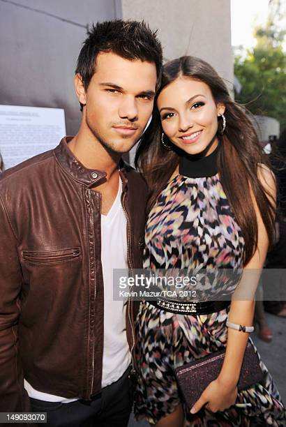 Actor Taylor Lautner and actress Victoria Justice attend the 2012 Teen Choice Awards at Gibson Amphitheatre on July 22 2012 in Universal City...