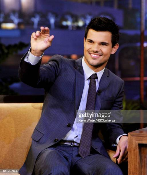 Actor Taylor Lautner appears on 'The Tonight Show With Jay Leno' at NBC Studios on November 2 2011 in Burbank California