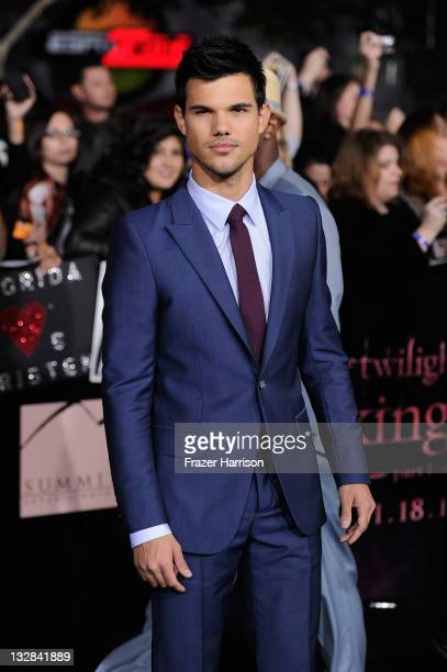 Actor Taylor Lautner arrives at Summit Entertainment's 'The Twilight Saga Breaking Dawn Part 1' premiere at Nokia Theatre LA Live on November 14 2011...
