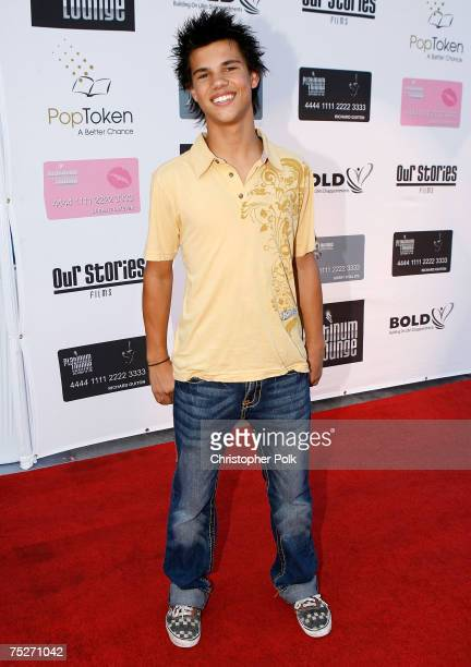 Actor Taylor Lautner arrives at the Hollywood launch of PlatinumLounge.com at The Globe Theatre on July 7, 2007 in Los Angeles California.