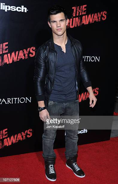 Actor Taylor Lautner arrives at the Los Angeles Premiere The Runaways at the ArcLight Cinemas Cinerama Dome on March 11 2010 in Hollywood California
