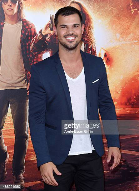 Actor Taylor Lautner arrives at the premiere of Lionsgate's 'American Ultra' at Ace Theater Downtown LA on August 18 2015 in Los Angeles California