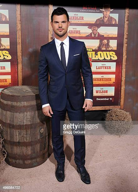 Actor Taylor Lautner arrives at the premiere of Netflix's 'The Ridiculous 6' at AMC Universal City Walk on November 30 2015 in Universal City...