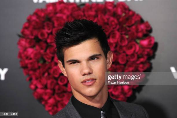 Actor Taylor Lautner arrives at the premiere of New Line Cinema's 'Valentine's Day' held at Grauman's Chinese Theatre on February 8 2010 in Los...
