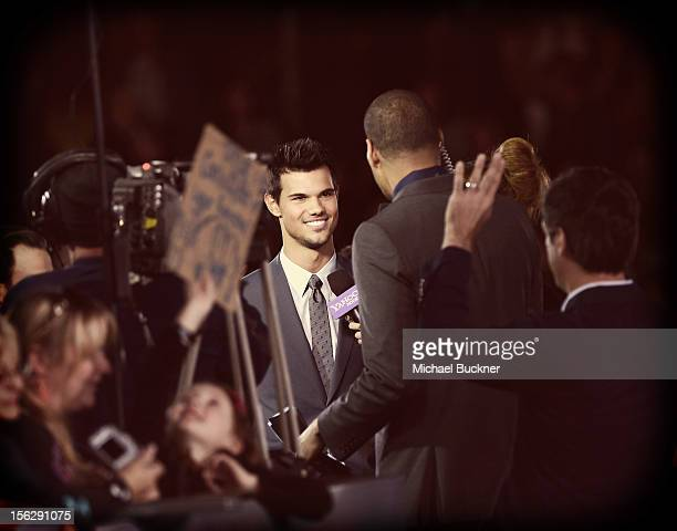Actor Taylor Lautner arrives at the Summit Entertainment's The Twilight Saga Breaking Dawn Part 2 at Nokia Theatre LA Live on November 12 2012 in Los...