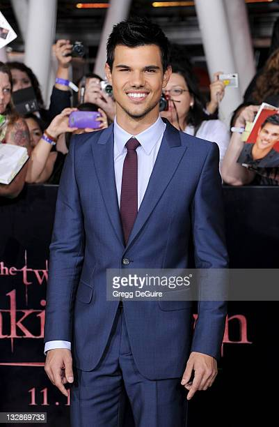 Actor Taylor Lautner arrives at 'The Twilight Saga Breaking Dawn Part 1' Los Angeles Premiere at Nokia Theatre LA Live on November 14 2011 in Los...