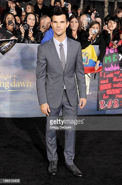 Actor Taylor Lautner arrives at 'The Twilight Saga Breaking Dawn Part 2' Los Angeles premiere at Nokia Theatre LA Live on November 12 2012 in Los...