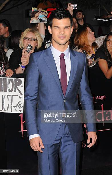 Actor Taylor Lautner arrives for Summit Entertainment's The Twilight Saga Breaking Dawn Part 1 held at Nokia Theatre LA Live on November 14 2011 in...