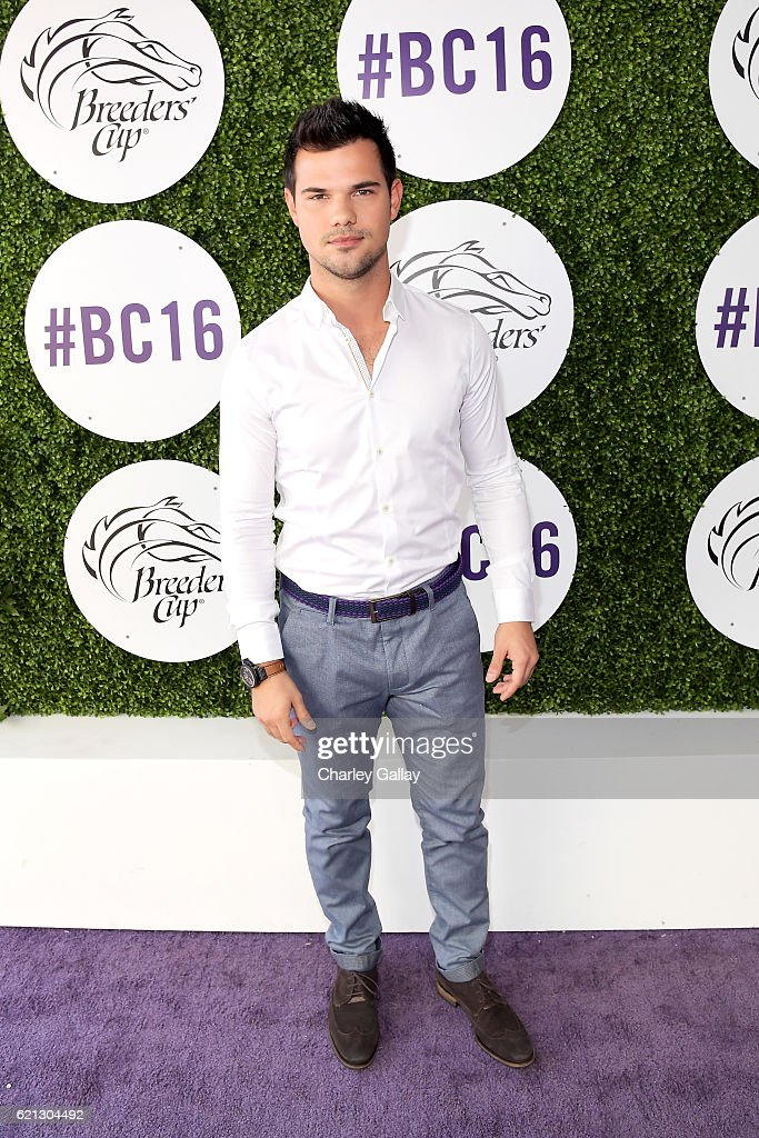 Actor Taylor Lautner at the 2016 Breeders' Cup World Championships at Santa Anita Park on November 5, 2016 in Arcadia, California.