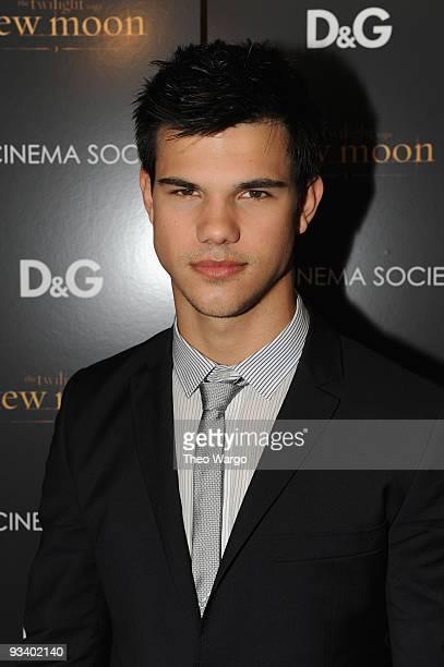 Actor Taylor Lautner attends the Cinema Society DG screening of The Twilight Saga New Moon at Landmark's Sunshine Cinema on November 19 2009 in New...