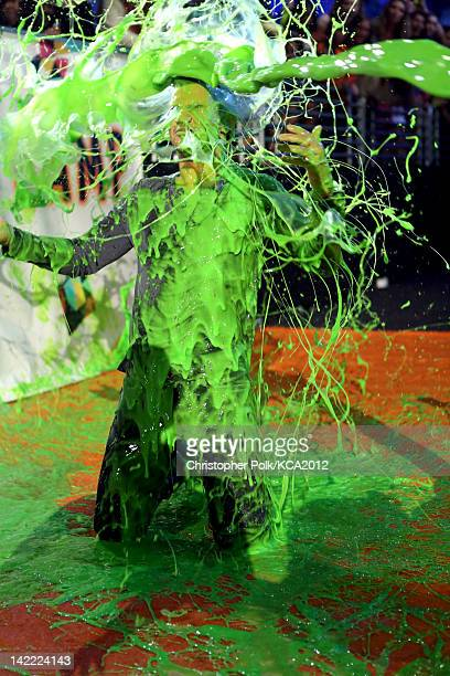 Actor Taylor Lautner gets slimed at Nickelodeon's 25th Annual Kids' Choice Awards held at Galen Center on March 31 2012 in Los Angeles California