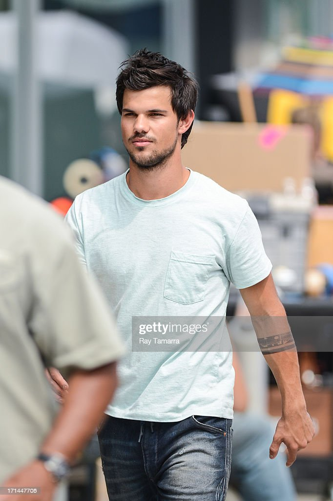 Actor Taylor Lautner leaves the 'Tracers' movie set in the Lower East Side on June 24, 2013 in New York City.