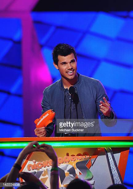 Actor Taylor Lautner speaks onstage at Nickelodeon's 25th Annual Kids' Choice Awards held at Galen Center on March 31 2012 in Los Angeles California