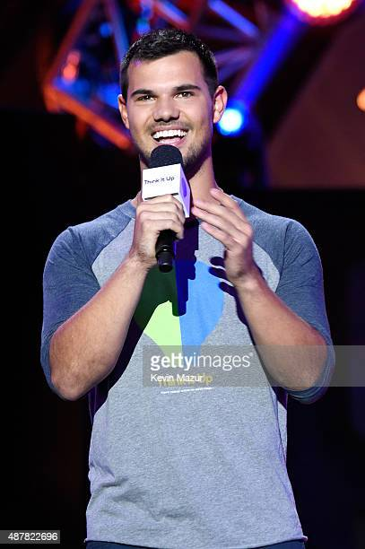 Actor Taylor Lautner speaks onstage during the Think It Up education initiative telecast for teachers and students hosted by Entertainment Industry...