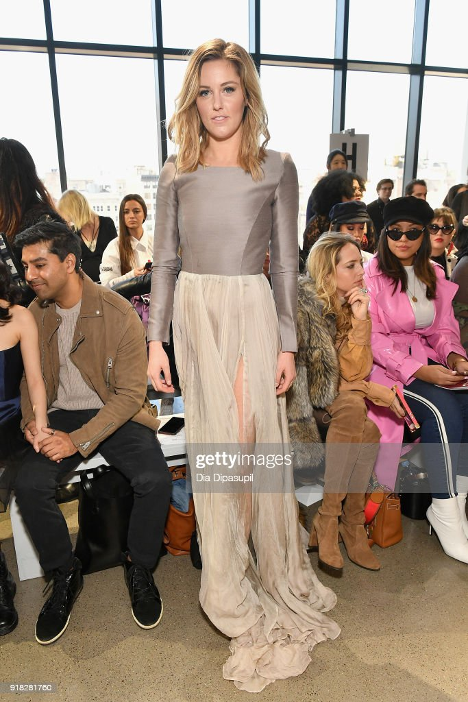 Actor Taylor Louderman attends the Leanne Marshall front row during New York Fashion Week: The Shows at Gallery II at Spring Studios on February 14, 2018 in New York City.