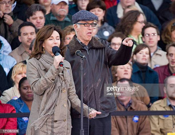 Actor Ted Danson and his wife Mary Steenburgen spoke to the crowd before Democratic presidential hopeful New York Senator Hillary Rodham Clinton...