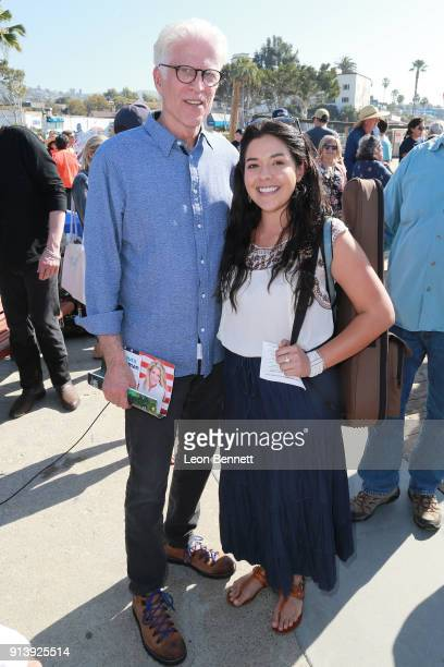 Actor Ted Danson and music artist Kelly Caballero attends the Oceana Rally Against Offshore Drilling on February 3 2018 in Laguna Beach California