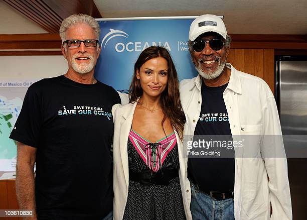 Actor Ted Danson model Almudena Fernandez and actor Morgan Freeman attend the Nautica Celebrities Join Oceana to Support Gulf of Mexico Expedition at...