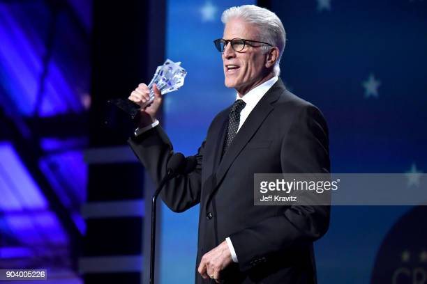 Actor Ted Danson speaks on stage at The 23rd Annual Critics' Choice Awards at Barker Hangar on January 11 2018 in Santa Monica California