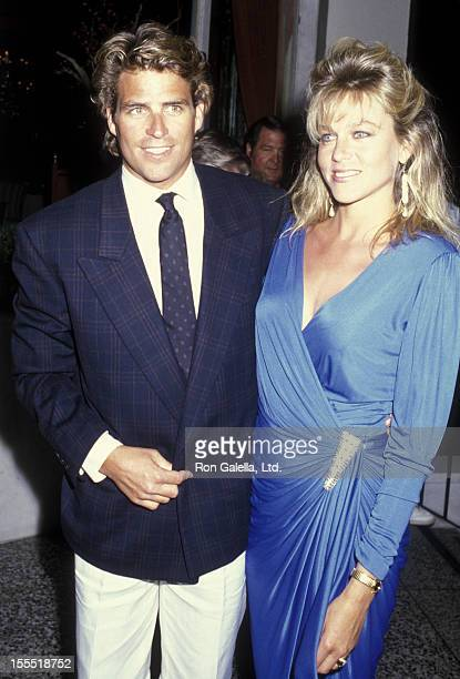 Actor Ted McGinley and actress Shawn Weatherly attend the wrap party for Dynasty on April 20 1986 at Bruno's Restaurant in Los Angeles California