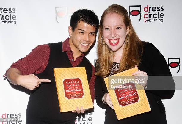 """Actor Telly Leung and author Jennifer Ashley Tepper attend the """"The Untold Stories Of Broadway"""" Book Launch Party at Sardi's on November 12, 2013 in..."""