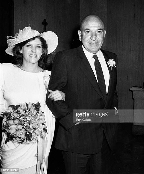 Actor Telly Savalas and wife Julie Hovland attend Telly SavalasJulie Hovland Wedding Ceremony on March 8 1986 at St Sophia Church in Los Angeles...