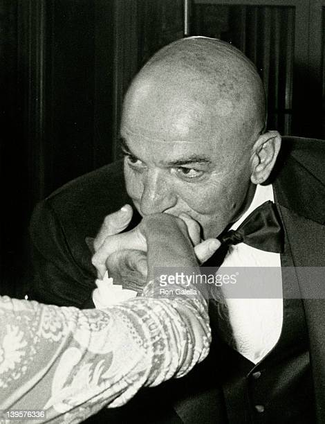Actor Telly Savalas attends Golf Collegiate Dinner Gala on August 15, 1979 at the Waldorf Hotel in New York City.
