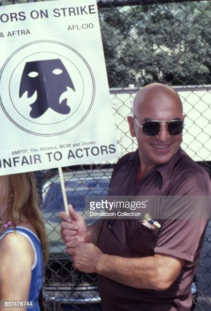Actor Telly Savalas attends SAG and AFTRA Actors On Strike in circa 1980 in Los Angeles California