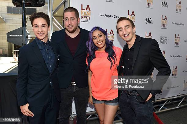 Actor Teo Halm Minecraft gamer personalities Ryan 'xRPMx13' McNulty Tiffany 'Cupquake' and Jerome 'ASF' Aceti attend the premiere of 'Earth to Echo'...