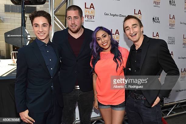 Actor Teo Halm Minecraft gamer pesronalities Ryan 'xRPMx13' McNulty Tiffany 'Cupquake' and Jerome 'ASF' Aceti attend the premiere of 'Earth to Echo'...